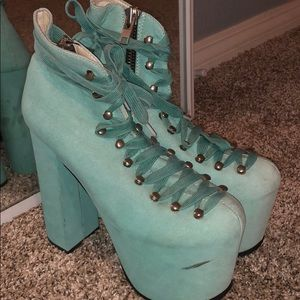 Hell bound platform boots- turquoise